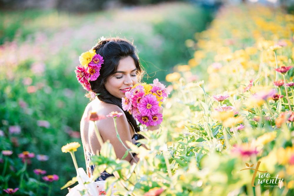 girl in flower dress in zinnia flower field sacramento wedding portrait photographer-11