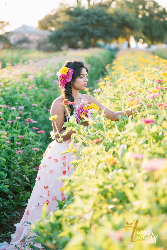 girl in flower dress in zinnia flower field sacramento wedding portrait photographer-12