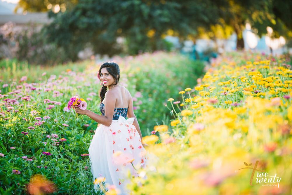girl in flower dress in zinnia flower field sacramento wedding portrait photographer-13