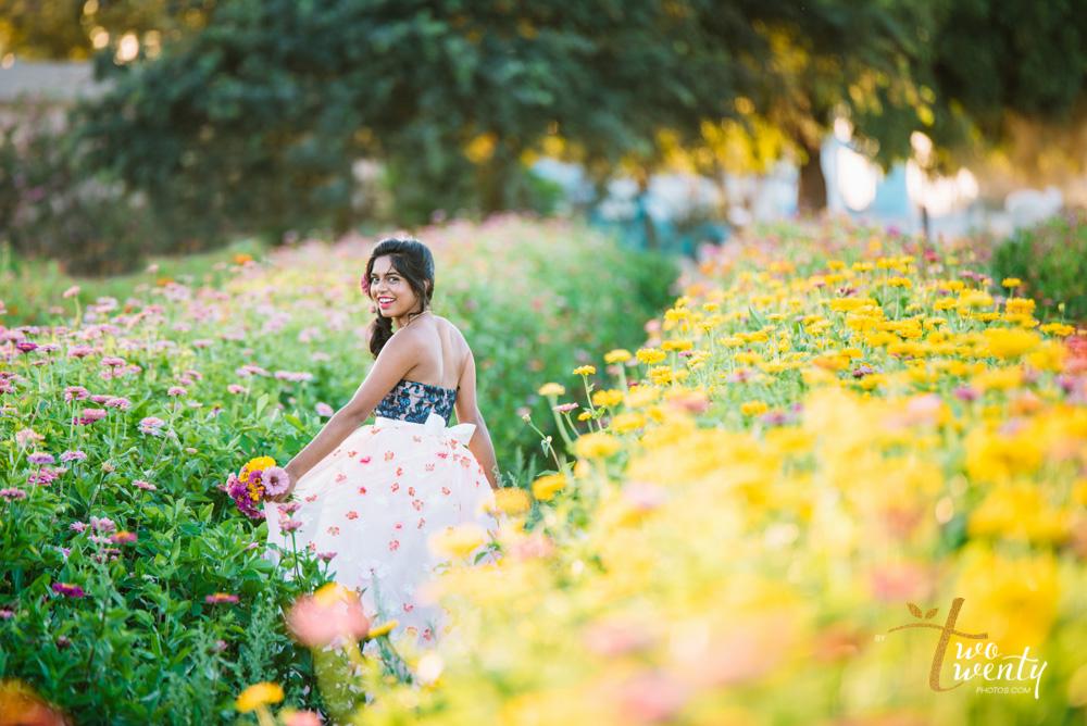 girl in flower dress in zinnia flower field sacramento wedding portrait photographer-14