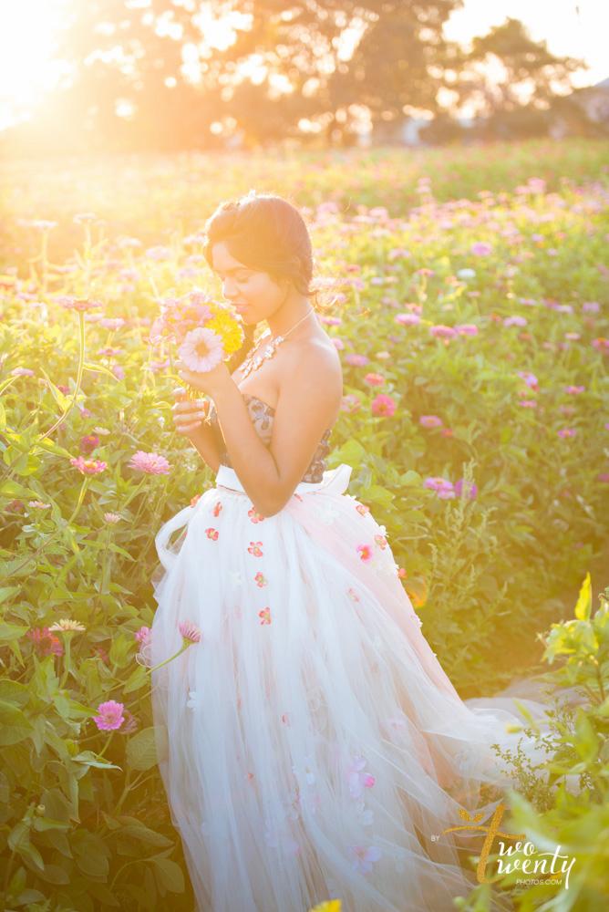 girl in flower dress in zinnia flower field sacramento wedding portrait photographer-15