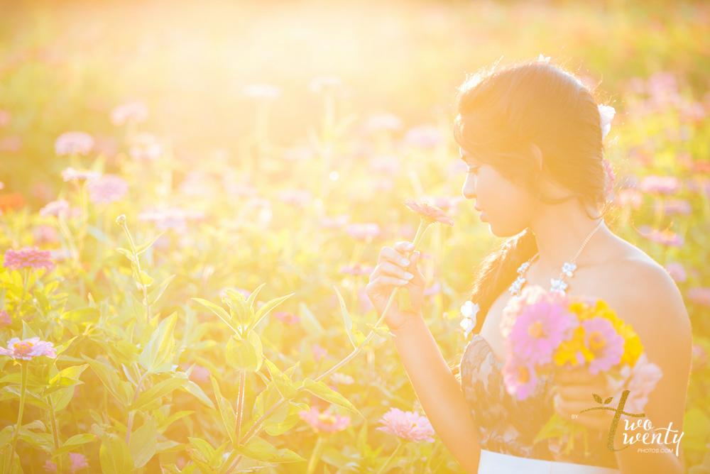 girl in flower dress in zinnia flower field sacramento wedding portrait photographer-17