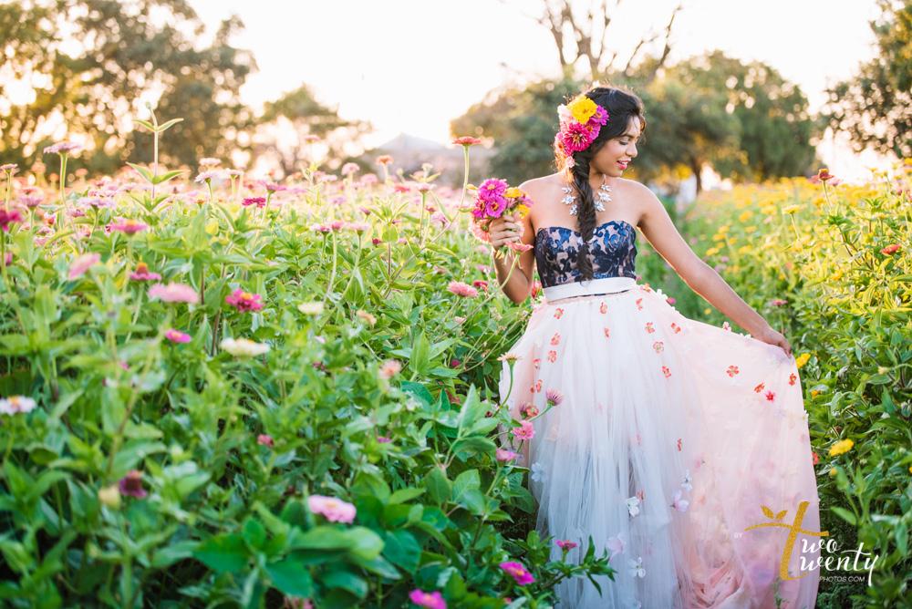 girl in flower dress in zinnia flower field sacramento wedding portrait photographer-18