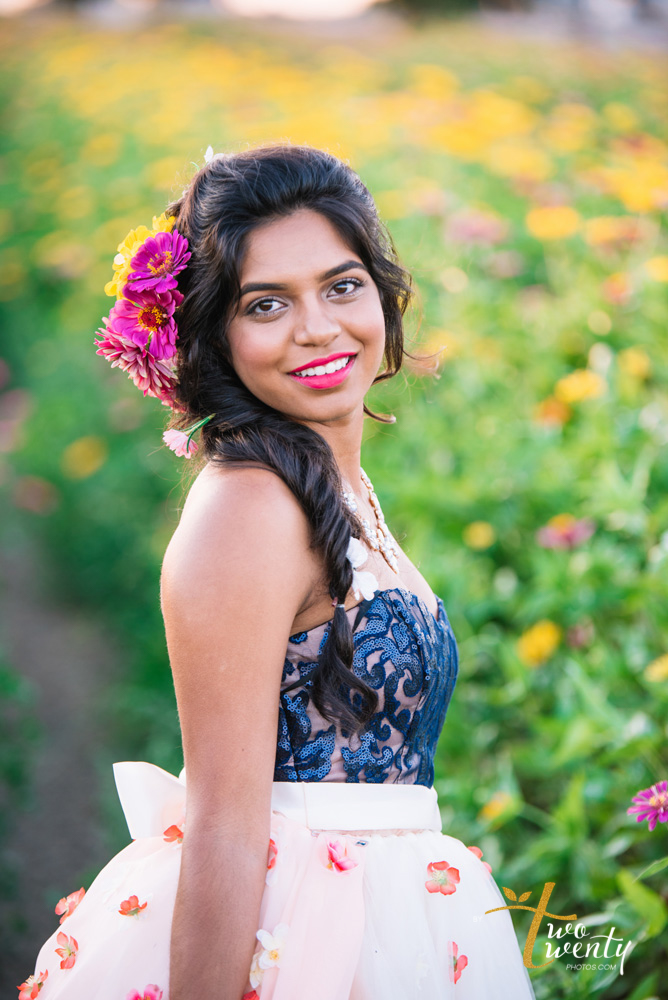 girl in flower dress in zinnia flower field sacramento wedding portrait photographer-21