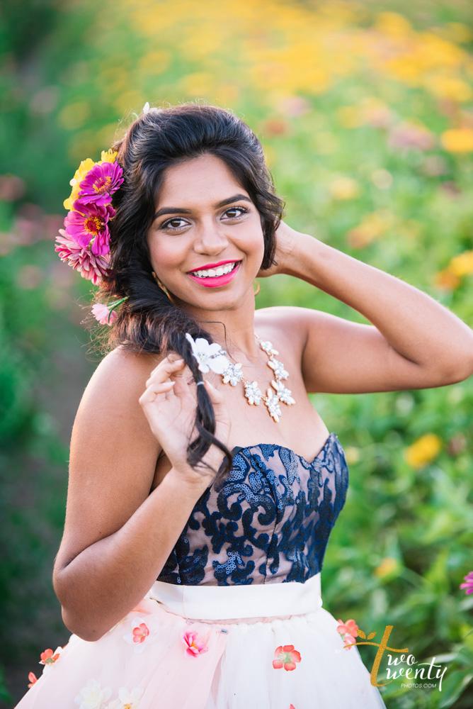 girl in flower dress in zinnia flower field sacramento wedding portrait photographer-23