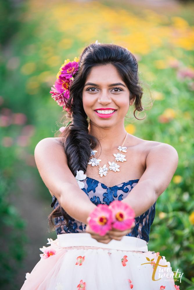 girl in flower dress in zinnia flower field sacramento wedding portrait photographer-25