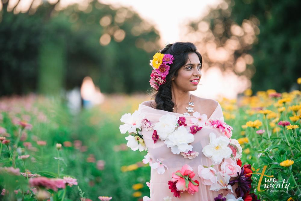 girl in flower dress in zinnia flower field sacramento wedding portrait photographer-26