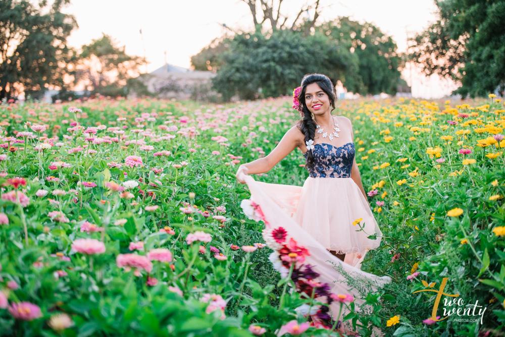 girl in flower dress in zinnia flower field sacramento wedding portrait photographer-28
