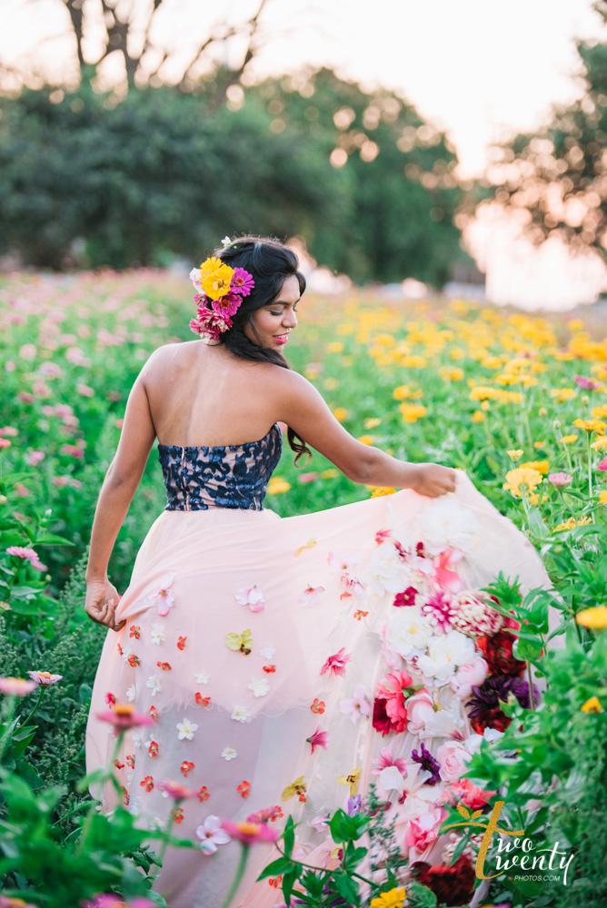 girl in flower dress in zinnia flower field sacramento wedding portrait photographer-30