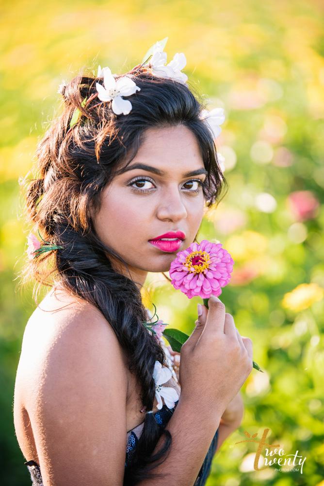 girl in flower dress in zinnia flower field sacramento wedding portrait photographer-4