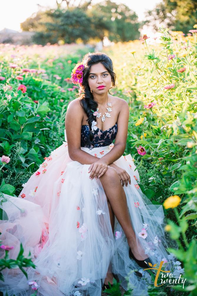 girl in flower dress in zinnia flower field sacramento wedding portrait photographer-8