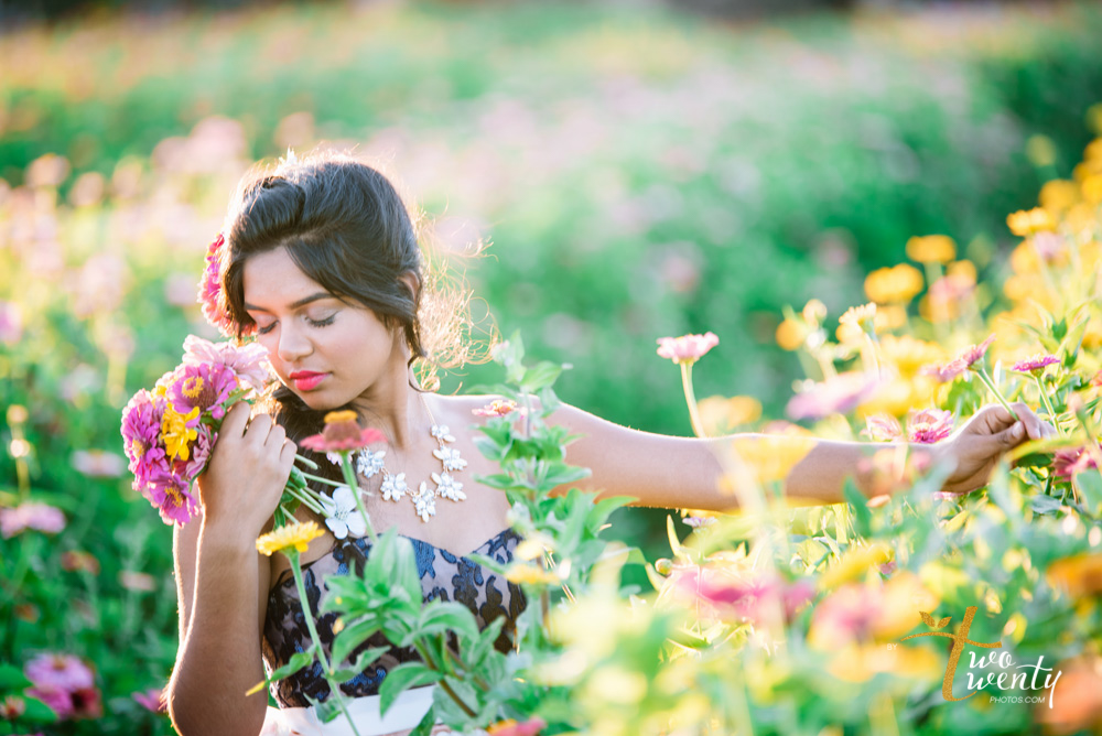 girl in flower dress in zinnia flower field sacramento wedding portrait photographer-9