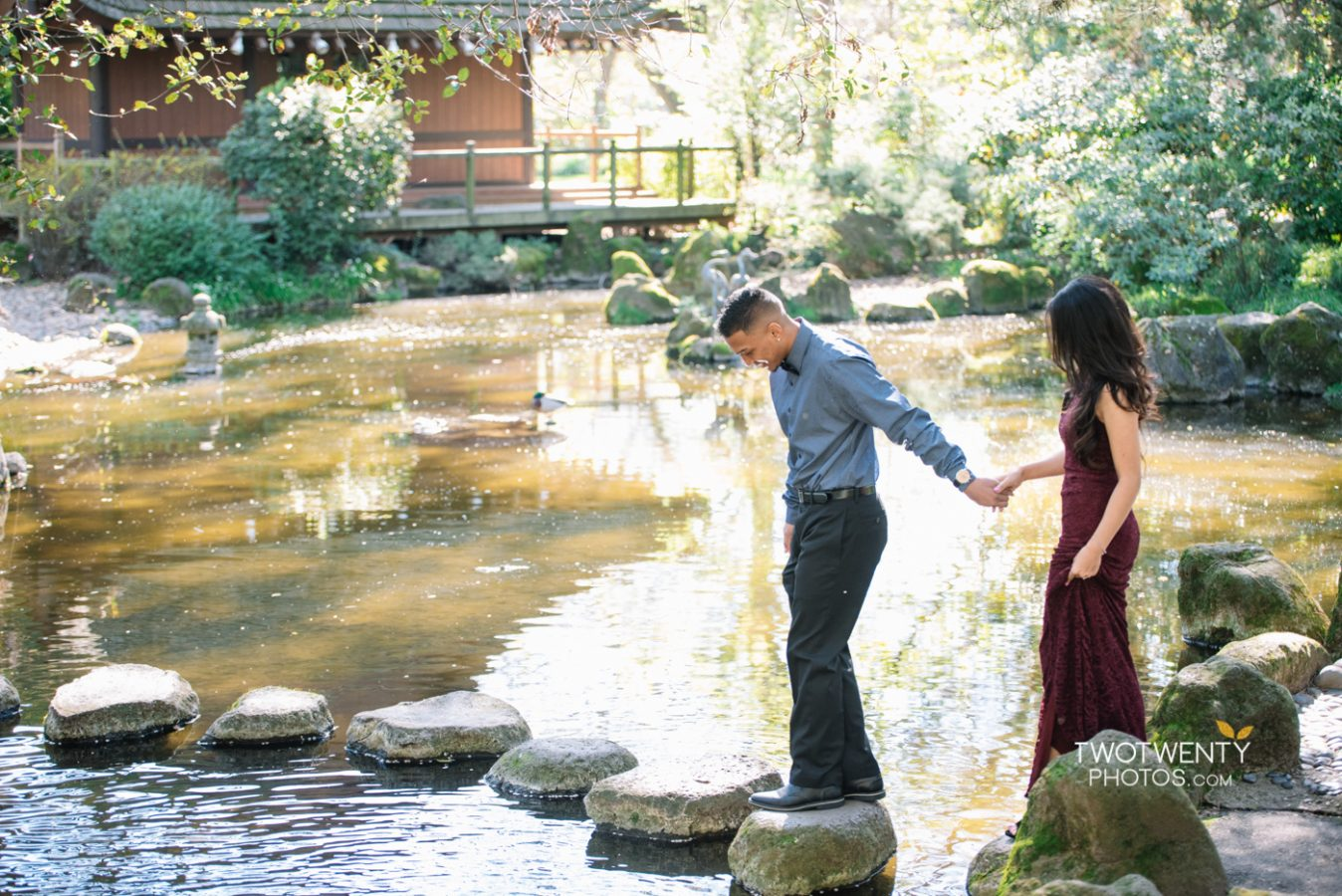 Ro & Darlene's Engagement Photos at the Japanese Tea Garden at Micke Grove in Lodi CA